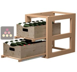 Wooden Storage unit for 2 wooden boxes VISIORACK