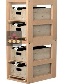 Set of 2 Wooden Storage unit for 4 wooden boxes VISIORACK