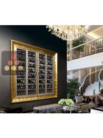 Combination of two modular built in multipurpose wine cabinets on iron stand CALICE