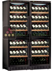 Built-in combination of 4 single-temperature wine cabinets for service or storage CALICE
