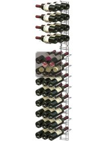 Chromed steel wall rack for 36 x 75cl bottles - Mixed horizontal and inclined bottles VISIORACK