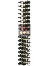 Chromed steel wall rack for 48 x 75cl bottles - Mixed horizontal and inclined bottles VISIORACK