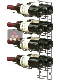 Black wall rack for 8 x 75cl bottles - Horizontal bottles VISIORACK
