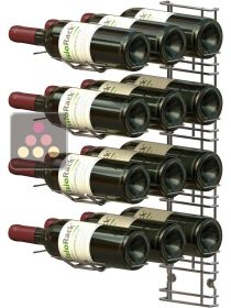 Black wall rack for 12 x 75cl bottles - Horizontal bottles VISIORACK