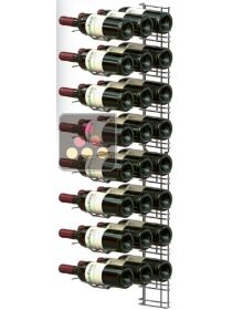 Black wall rack for 24 x 75cl bottles - Horizontal bottles VISIORACK