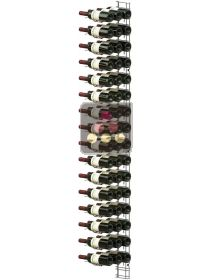 Black wall rack for 48 x 75cl bottles - Horizontal bottles VISIORACK