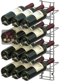 Black wall rack for 12 x 75cl bottles - Sloping bottles VISIORACK