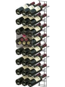 Black wall rack for 24 x 75cl bottles - Sloping bottles VISIORACK