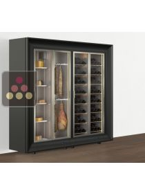 Freestanding combination of a multipurpose wine cabinet and a cheese/delicatessen cabinet in an island unit CALICE DESIGN