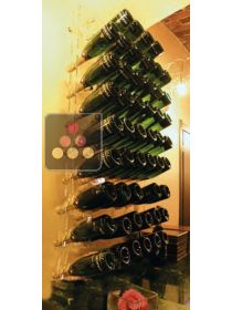 Wall Mounted Bottle Rack in Plexiglass for 50 champagne bottles - (optional LED lighting) SOBRIO