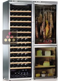 Combination of a single temperature wine cabinet, a cheese cabinet and a delicatessen cabinet CALICE