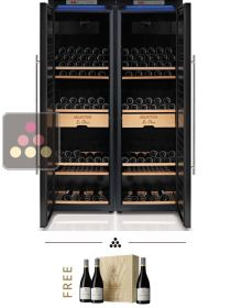 Combination of 2 single temperature wine cabinets with humidity control LE CHAI