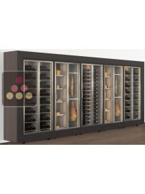Combination of 4 freestanding modular wine cabinets and one cheese/delicatessen cabinet CALICE DESIGN