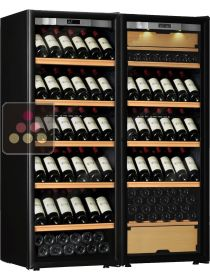 Combination of a single temperature wine cabinet and a 3 temperatures multipurpose wine cabinet TRANSTHERM