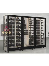 Combination of 3 modular multi-purpose wine display cabinet - 4 glazed sides CALICE DESIGN