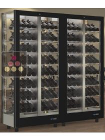 Combination of 2 modular multi-purpose wine display cabinet - 4 glazed sides CALICE DESIGN