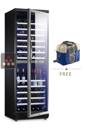 Dual temperature wine cabinet for storage and/or service