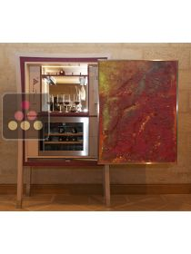 Customizable craft tasting cabinet with single temperature wine cabinet for service - Exhibition Model sold with 2 painting Ma Cave à Vin
