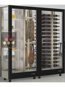 Combination of 2 modular refrigerated display cabinet for wine, cheese and delicatessen - 4 glazed sides CALICE DESIGN