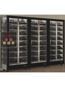 Combination of 3 modular multi-purpose wine display cabinet - 3 glazed sides CALICE DESIGN