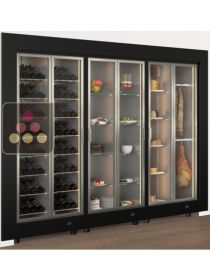 Modular combination of a wine, cheese, delicatessen and desserts display cabinets CALICE DESIGN