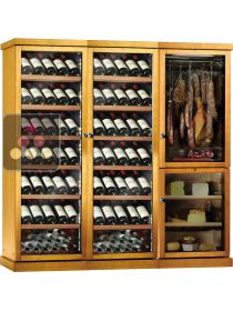 Combination 2 single temperature wine cabinet, a cheese cabinet and a delicatessen cabinet CALICE