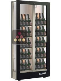 3-sided refrigerated display cabinet for wine storage or service with reduced depth - Tilted bottles CALICE DESIGN