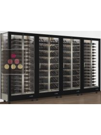 Combination of 4 modular multi-purpose wine display cabinet - 3 glazed sides CALICE DESIGN