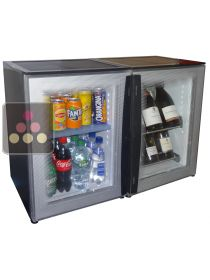 Combination of a silent 8-bottles mini-winebar and 40L silent mini-bar with colorless doors WINEBAR