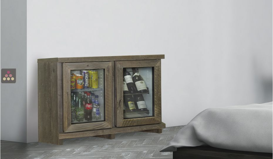Silent mini-winebar and minibar with customized wood coating