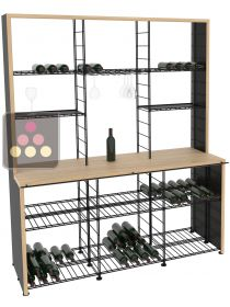 Steel storage rack with solid Oak wood tasting counter L'ATELIER du VIN