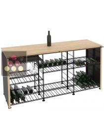 Solid Oak tasting counter-top with integrated storage racks L'ATELIER du VIN