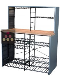 Steel tasting and storage furniture with solid Oak wook counter-top  L'ATELIER du VIN