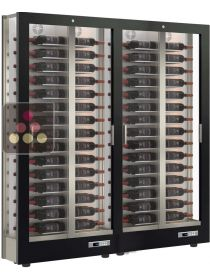 Combination of 2 modular multi-purpose wine display cabinet - 3 glazed sides - Reduced Depth CALICE DESIGN