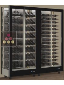 Combination of 2 modular multi-purpose wine display cabinet - 3 glazed sides CALICE DESIGN