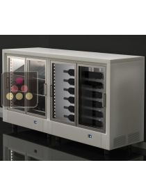 Combination of two central multipurpose wine cabinets with customizable wooden coating CALICE DESIGN