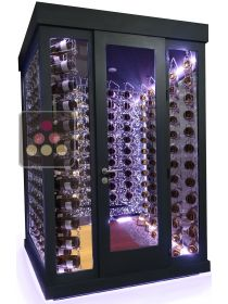 Single temperature Cellar – 3 glass walls – Suspended Bottles – Ageing or service WINEROOM