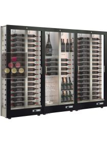 Combination of 3 modular multi-purpose wine display cabinet - 3 glazed sides - Reduced Depth CALICE DESIGN