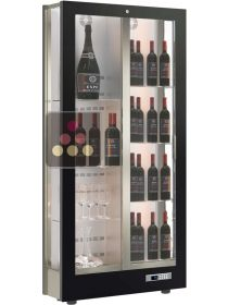 3-sided refrigerated display cabinet for wine storage or service with reduced depth CALICE DESIGN