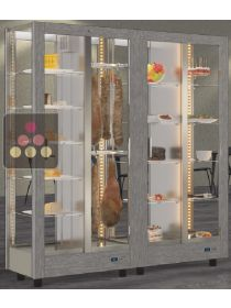 Combination of 2 modular refrigerated display cabinet for cheese, delicatessen and desserts - 4 glazed sides CALICE DESIGN