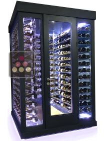 Single temperature Cellar – 3 glass walls – Suspended Bottles and Horizontal Shelves – Ageing or Service WINEROOM