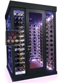 Single temperature Cellar – 3 glass walls – Horizontal Shelves and Suspended Bottles – Ageing or Service WINEROOM