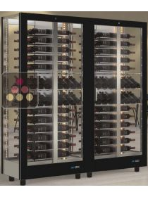 Combination of 2 multi-purpose wine display cabinet - 4 glazed sides CALICE DESIGN