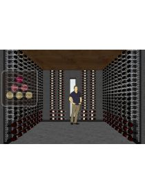 Wine display furnitures in steel wires for 1056 bottles and 132 magnums VISIORACK