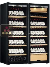 Combination of a single temperature wine cabinet and a 3 temperatures multipurpose wine cabinet - Full Glass door TRANSTHERM