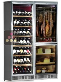 Built-in combination of a multi-temperature wine cabinet, and a cheese & delicatessen cabinet CALICE