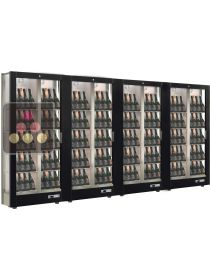 Combination of 4 modular multi-purpose wine display cabinet - 3 glazed sides - Reduced Depth CALICE DESIGN
