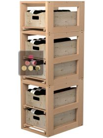 Wooden Storage unit for 5 wooden boxes VISIORACK