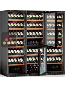 Built-in combination of 3 wine service or storage cabinets - 4-temperature CALICE