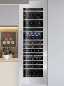 Triple temperature built in wine cabinet for storage and service LE CHAI